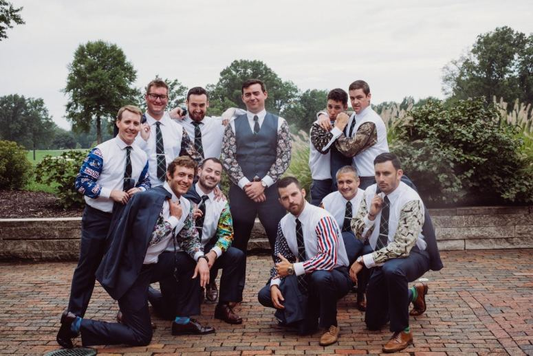 Stylish Groomsmen with Printed Sleeves