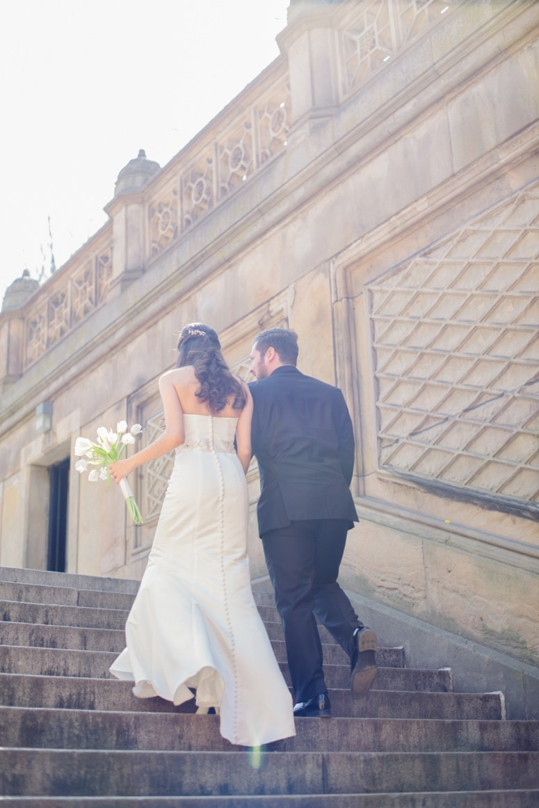 Bride and Groom on Bow Bridge