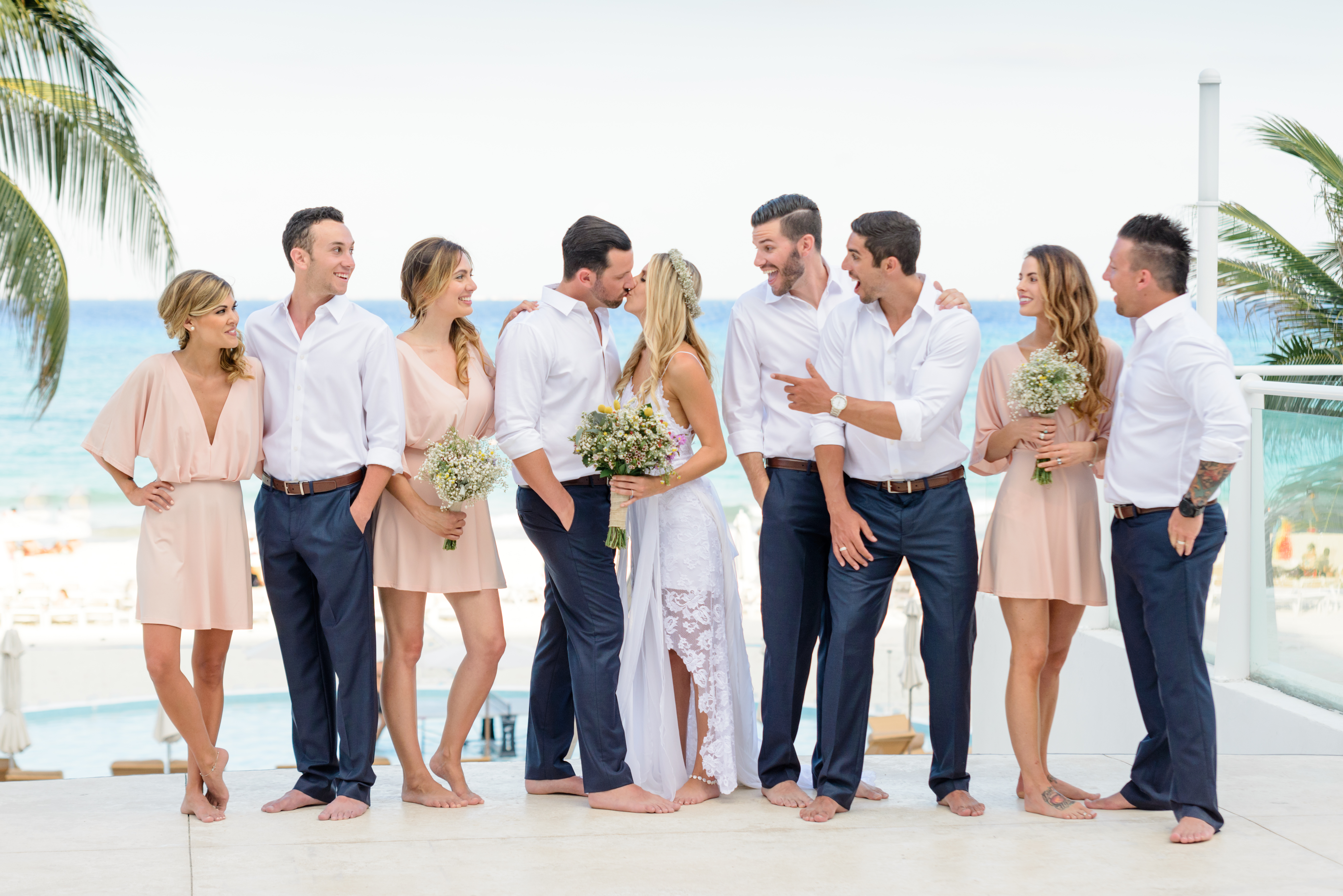Grace Loves Lace Wedding Gown with Blush Bridesmaids Gown in a Bohemian Style