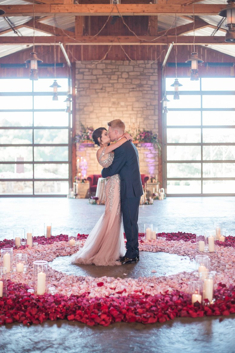 Bride and Groom in Circle of Rose Petals