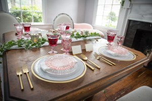 Rose colored stemware