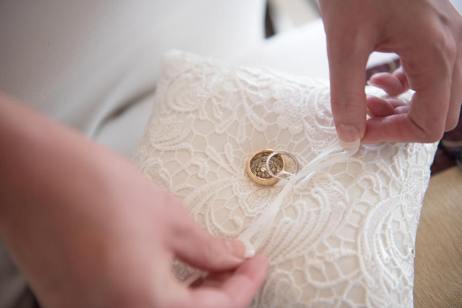 Wedding Rings on Ring Bearer Pillow