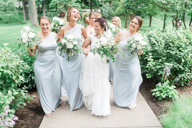 Pale Blue Bridesmaids Gowns off the shoulder