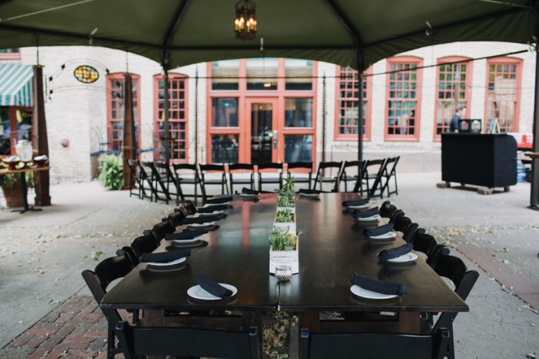 outdoor seating at intimate cafe wedding