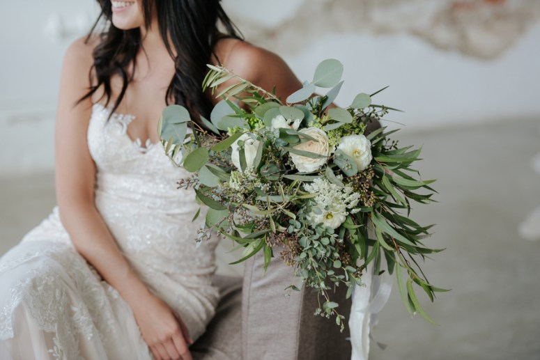 Green & White Rustic Bridal Bouquet