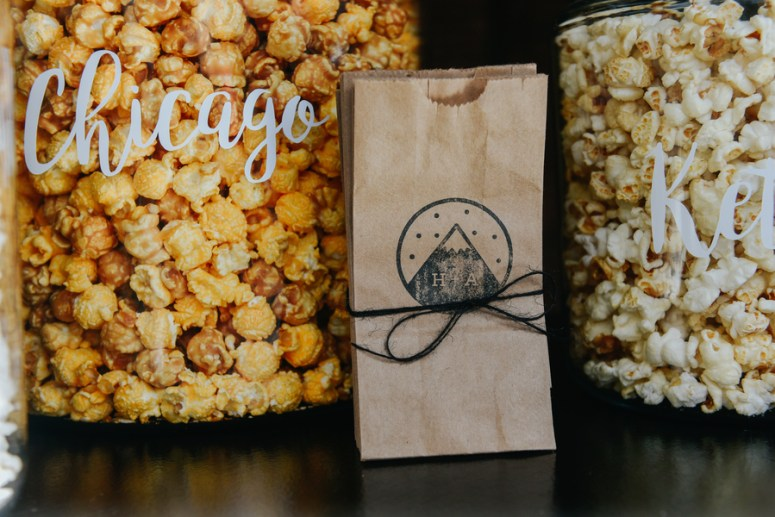 Personalized Popcorn Bags at Wedding