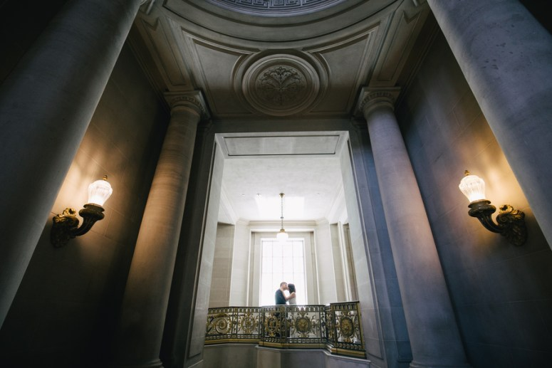 Bride and Groom kissing after City Hall Wedding