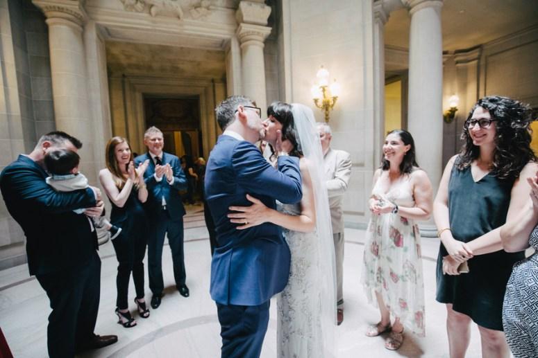 Bride and Groom First Kiss City Hall Wedding