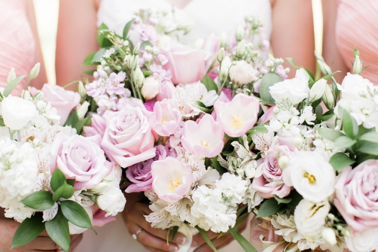blush and violet wedding bouquets
