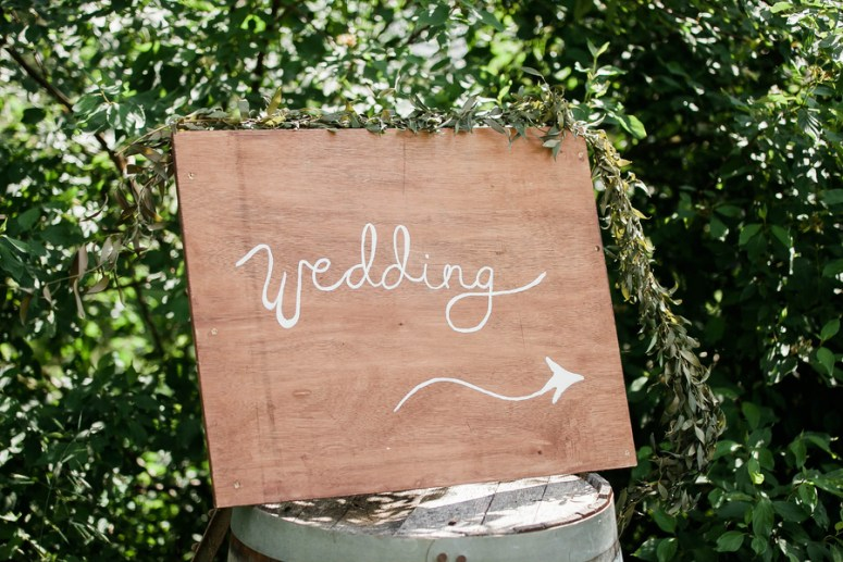 wooden wedding day sign