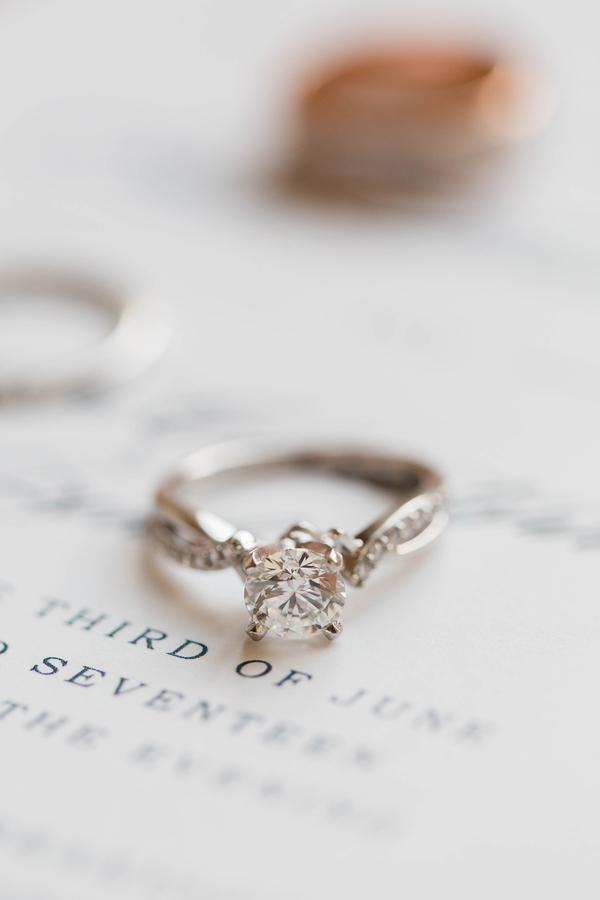 engagement ring displayed on wedding invitation