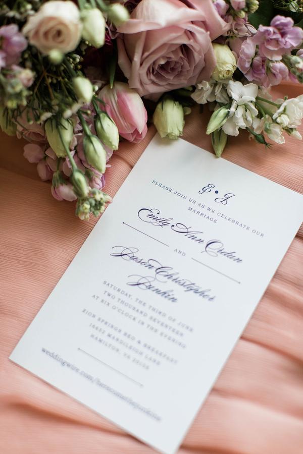 navy and pink wedding invitation