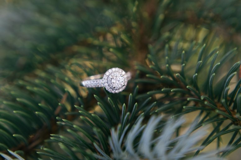 Engagement ring in Christmas Tree