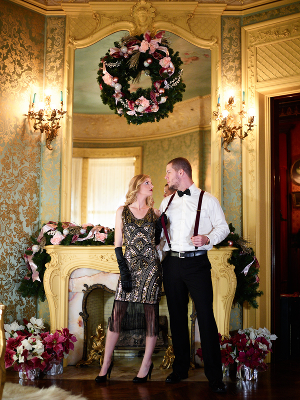 christmas meets great gatsby themed couples shoot