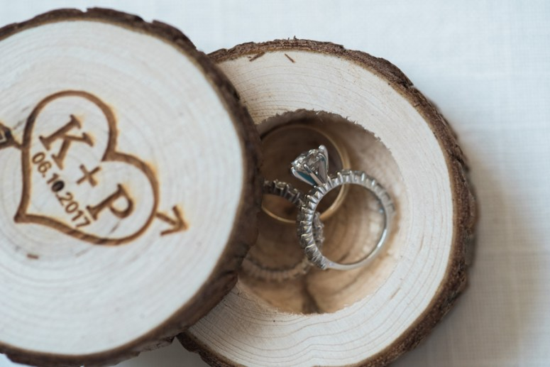 wood burned wedding ring holder
