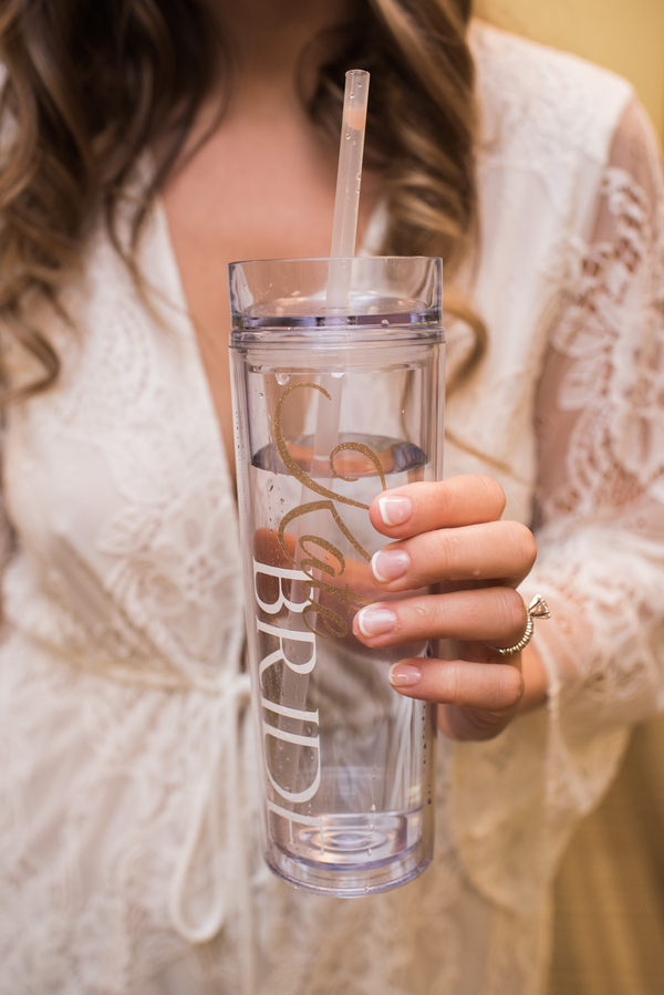 personalized bride water tumbler