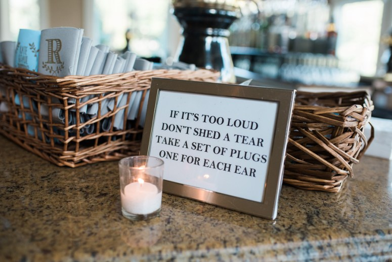 personalized earplug basket at wedding