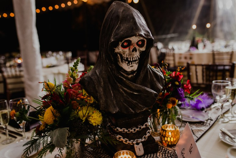 halloween themed wedding reception decor
