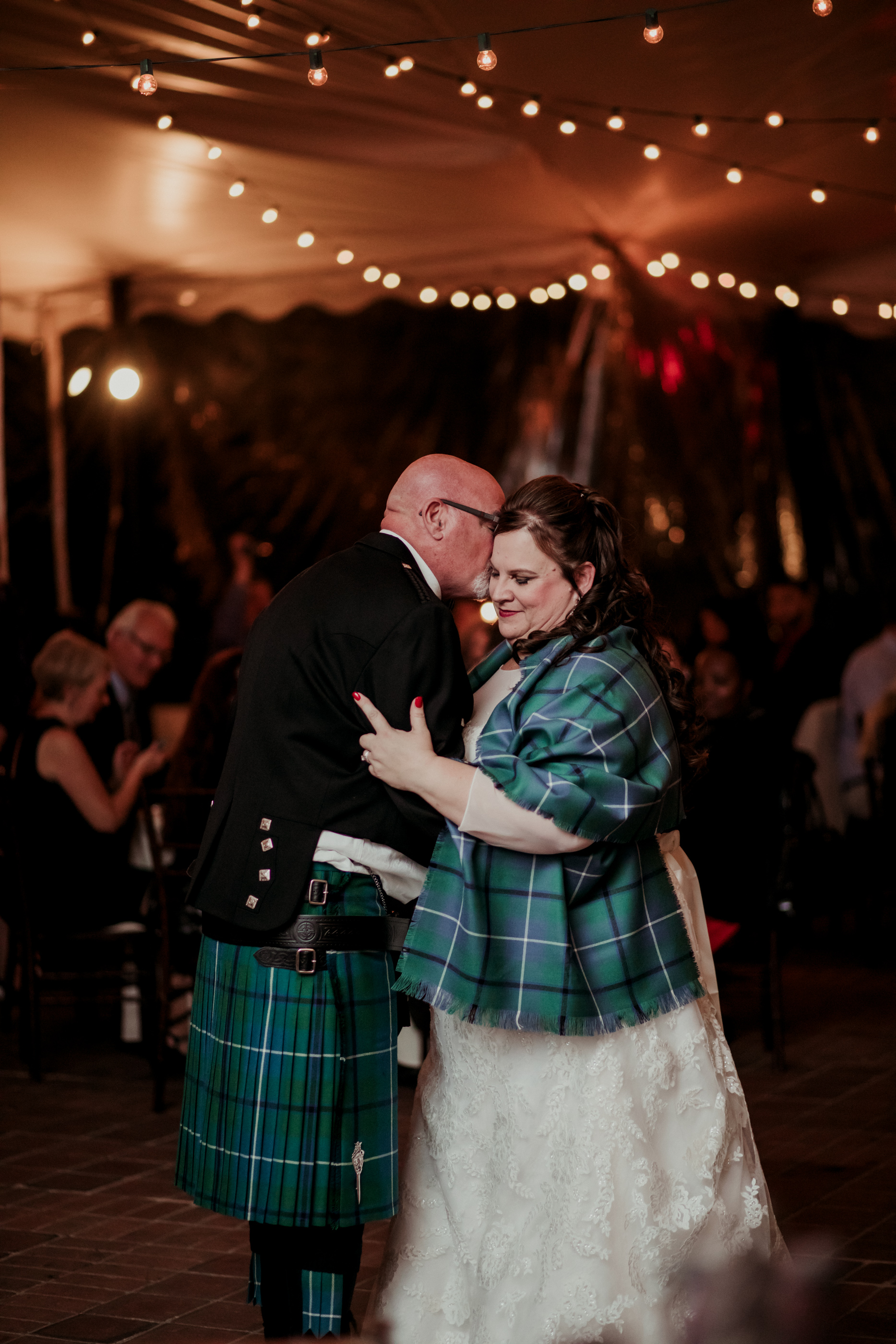 scottish bride and groom wearing tartan