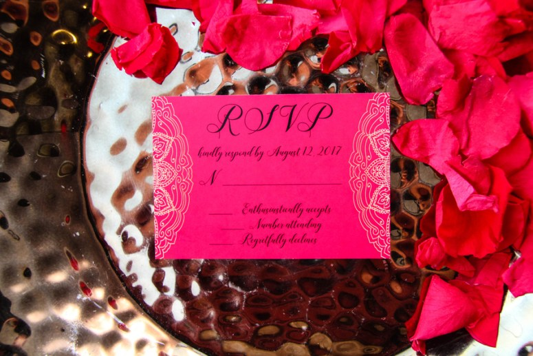 paisley hot pink RSVP wedding cards