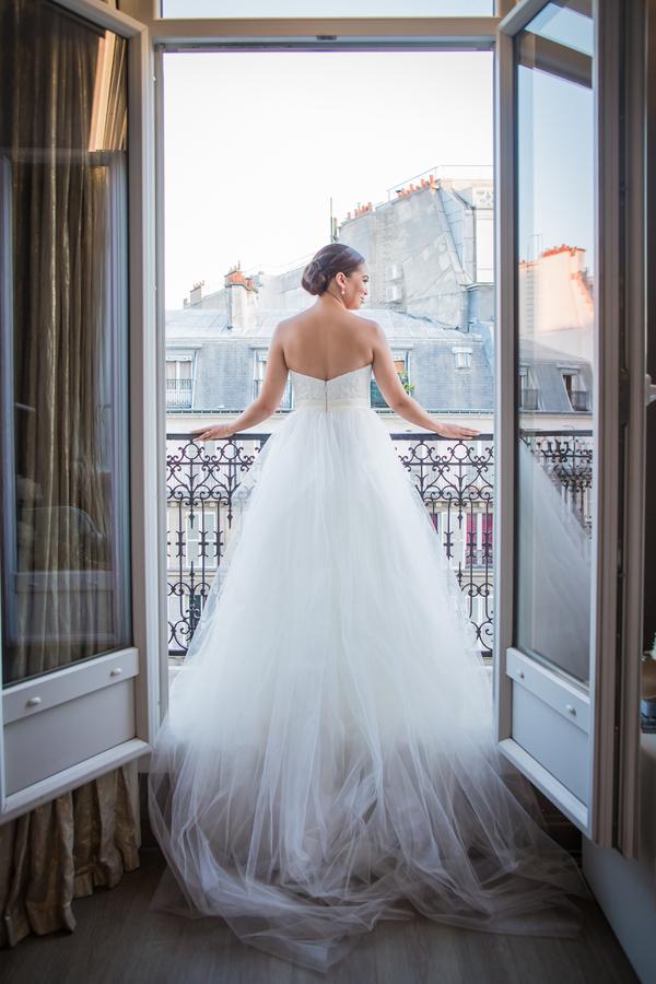 Bride in Paris on Patio
