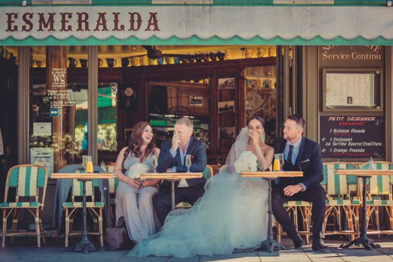 Bridal Party at Cafe in Paris