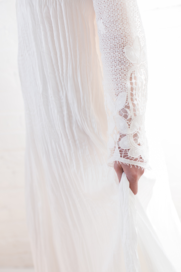 lacy long sleeved boho wedding gown