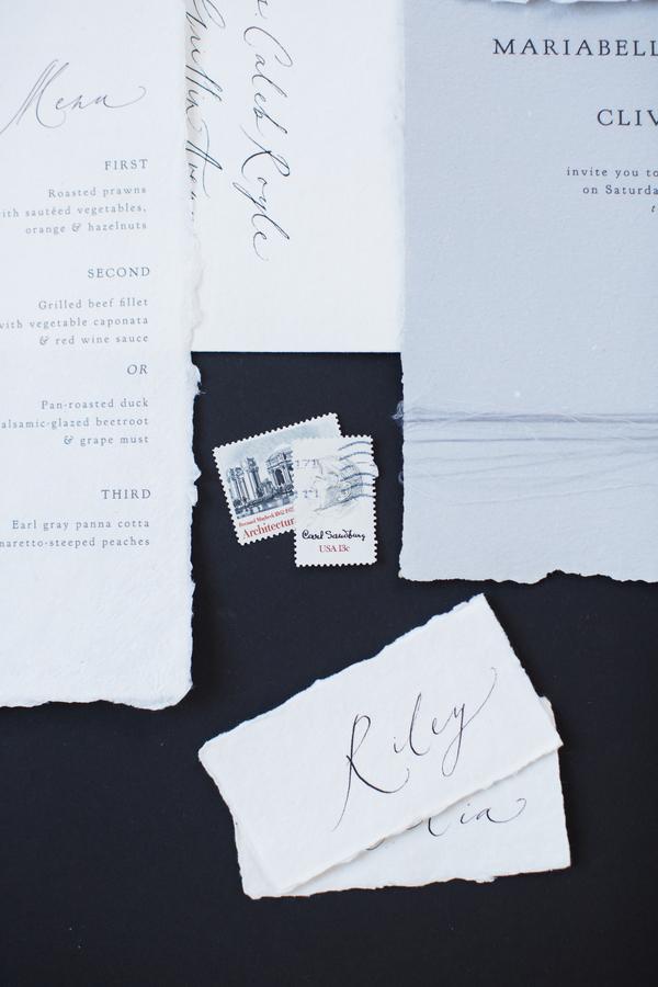 simple minimalist wedding invitations blue and white