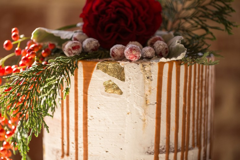 Wedding Cake decorated with Cranberries