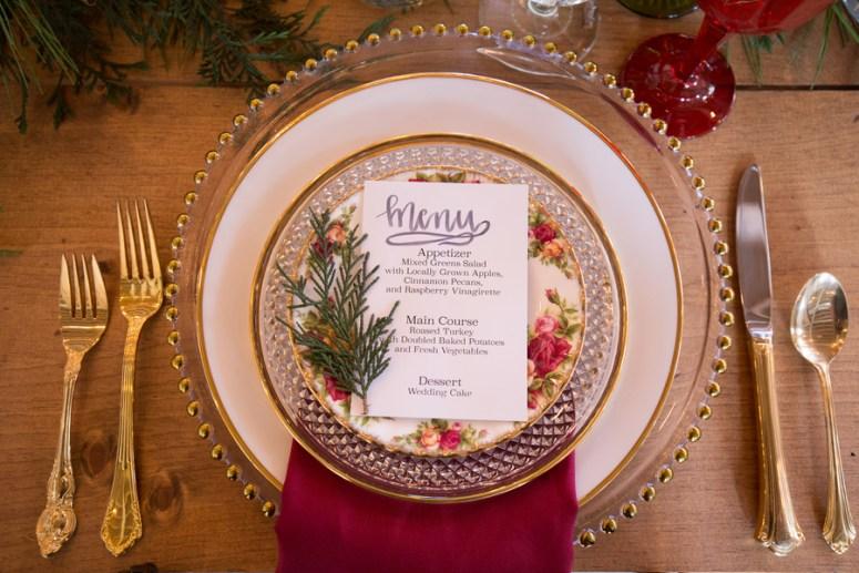 Christmas themed wedding menu