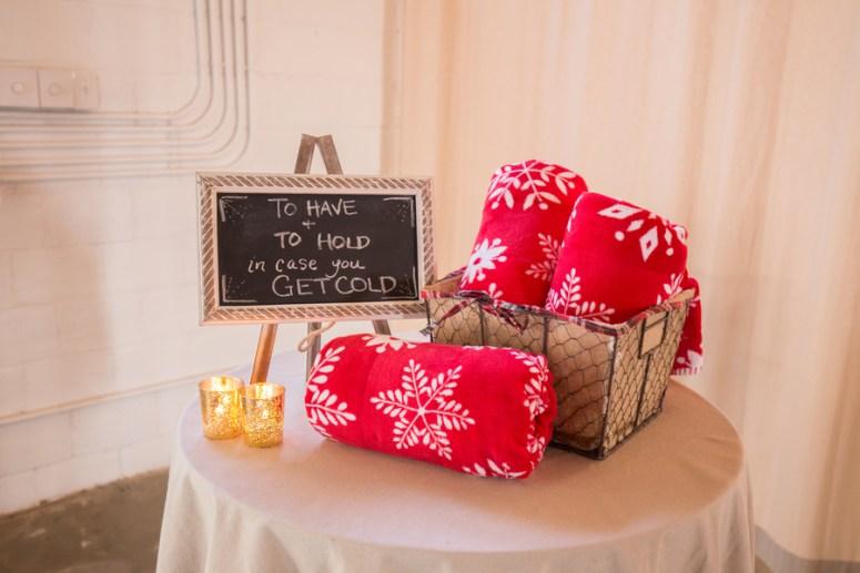 Blanket Station for Winter Wedding