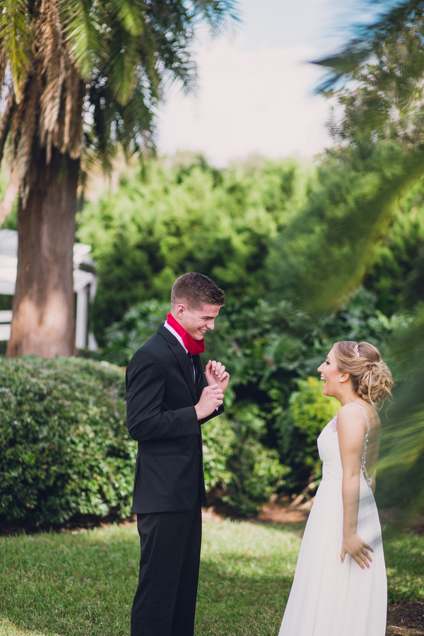 bride and groom first look in orlando