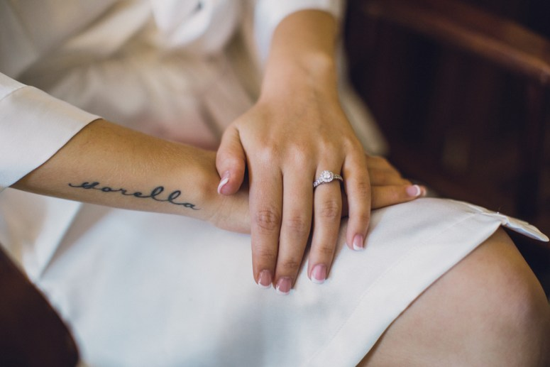 french manicure for bride