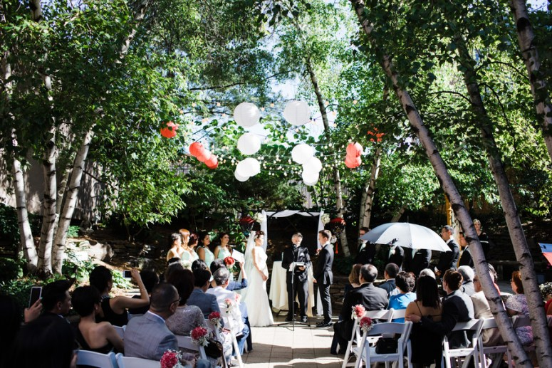 Red & White Lanterns at outdoor at wedding ceremony