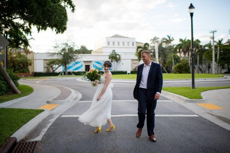 Bride and Groom Dancing in Street