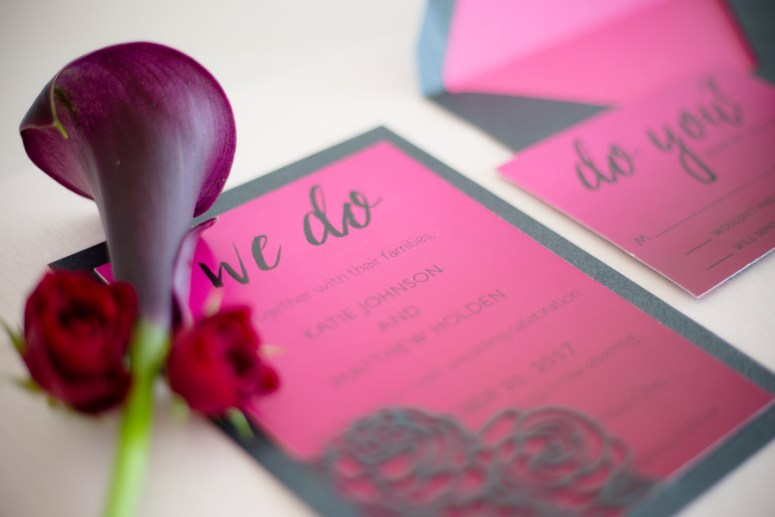 pink wedding invitations, hot pink wedding invitations, pink wedding stationery suite