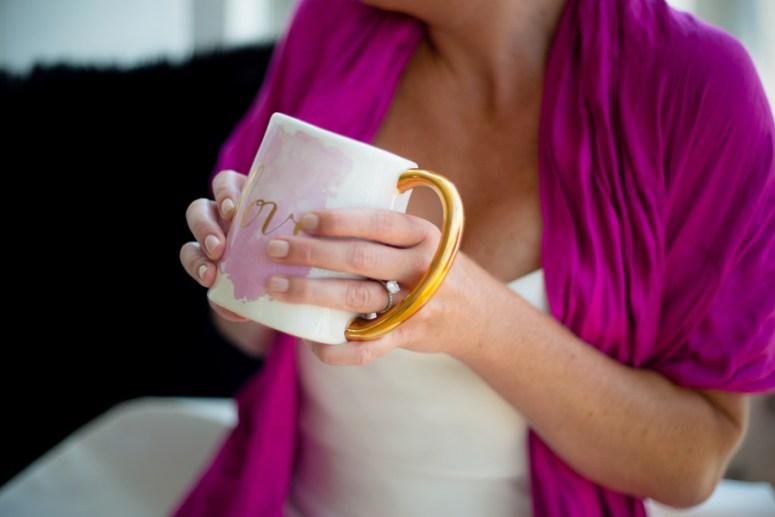 bride drinking coffee, watercolor coffee mug, hot pink shawl, bride wearing pink