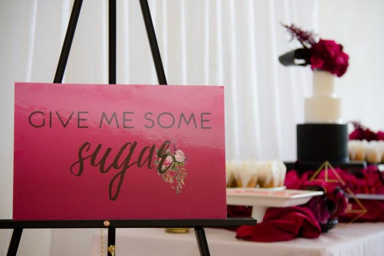 dessert station at wedding, pink themed wedding, black and white wedding cake