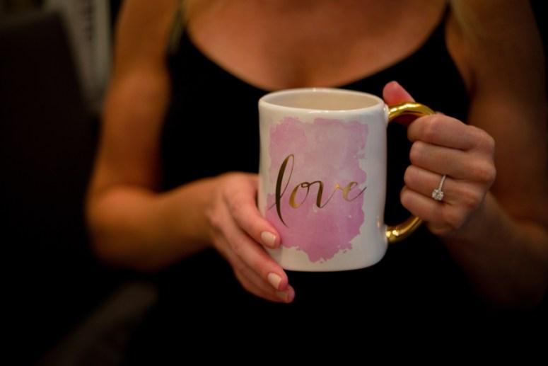 bride drinking coffee, pink wedding coffee mug, pink coffee mug, watercolor coffee mug