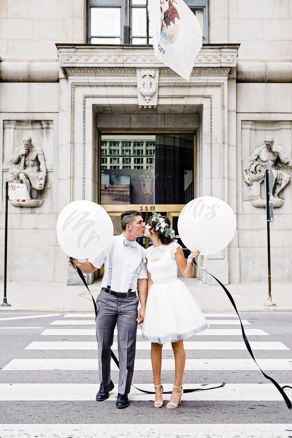 Short Wedding Dress, City Hall Wedding, White Wedding Balloons