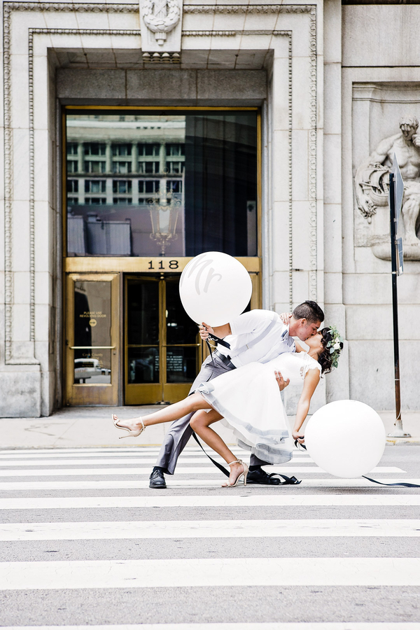 Chicago Wedding, City Hall Wedding, White Wedding Balloons