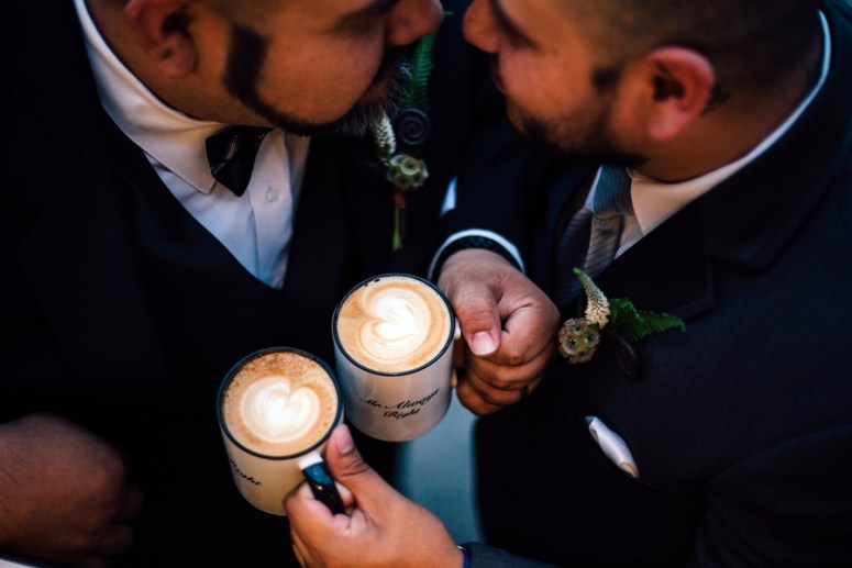 grooms toasting with coffee