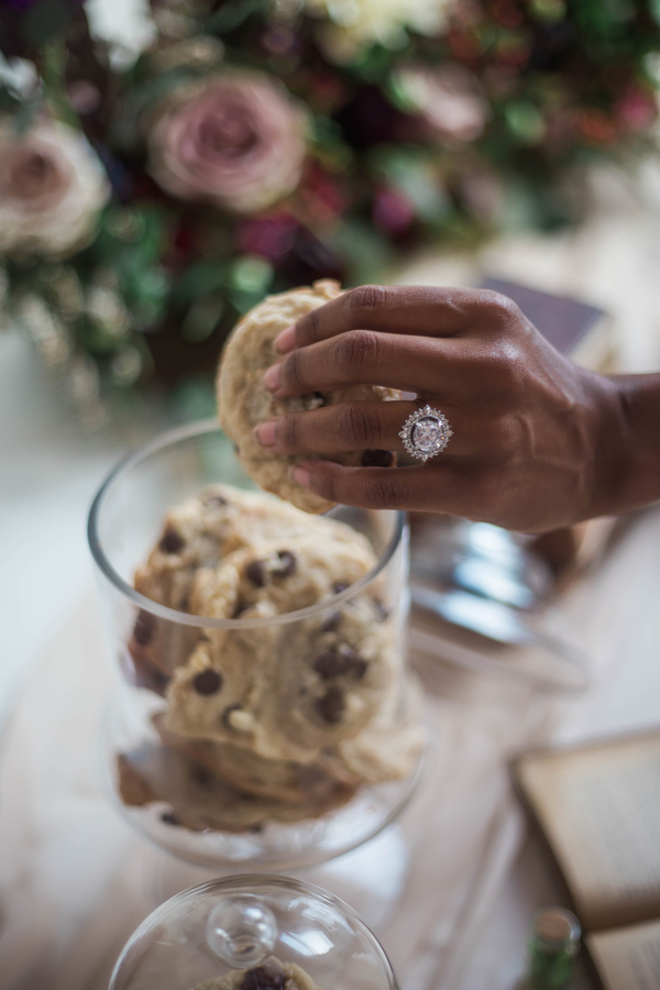 Cookie Station at Wedding, Dessert Station at Wedding, Engagement Ring with Halo