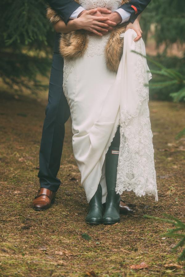 bride wearing rain boots, Ontario Wedding, Ontario Wedding Photographer