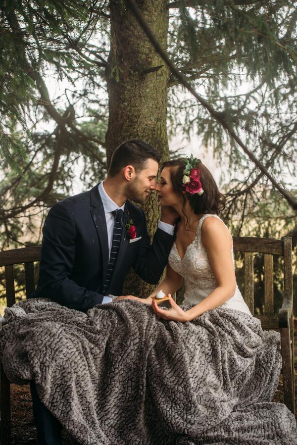 winter wedding portraits, Ontario Wedding Ideas, Ontario Wedding Planning, Bride and Groom under blanket