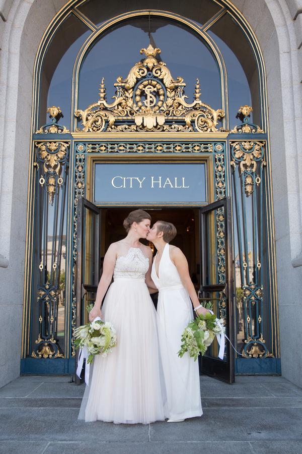 San Francisco Courthouse Wedding.San Francisco City Hall Wedding Two Brides