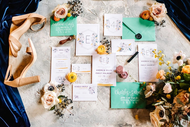 Loflin Yard Wedding, Memphis Wedding, Rock and Roll Bride, Modern Wedding, yellow and green wedding invitation suite