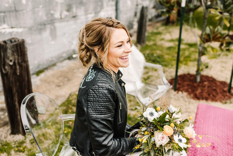 Loflin Yard Wedding, Memphis Wedding, Rock and Roll Bride, Modern Wedding, bride in ghost chairs