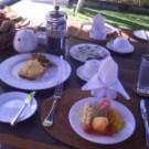wheat bread w/scrambled egg & fresh fruit