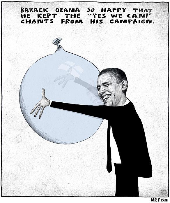 """© Mr. Fish Barack Obama tak był rad, że zatrzymał sobie mantrę """"Yes we can"""" z kampanii"""